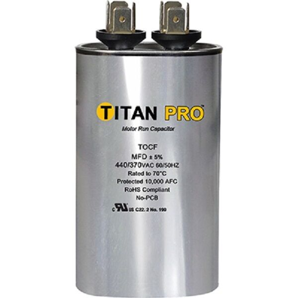 Titan tocf15 440 370v 15 mfd dual rated oval run capacitor for 370 volt 10 mfd motor run oval capacitor