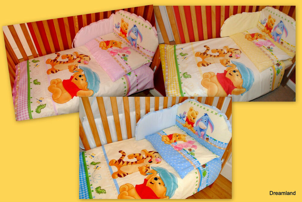 My Friend Pooh 4 Piece Crib Bedding Set: Nursery Baby COT Or COT BED 3piece Bedding Sets Disney