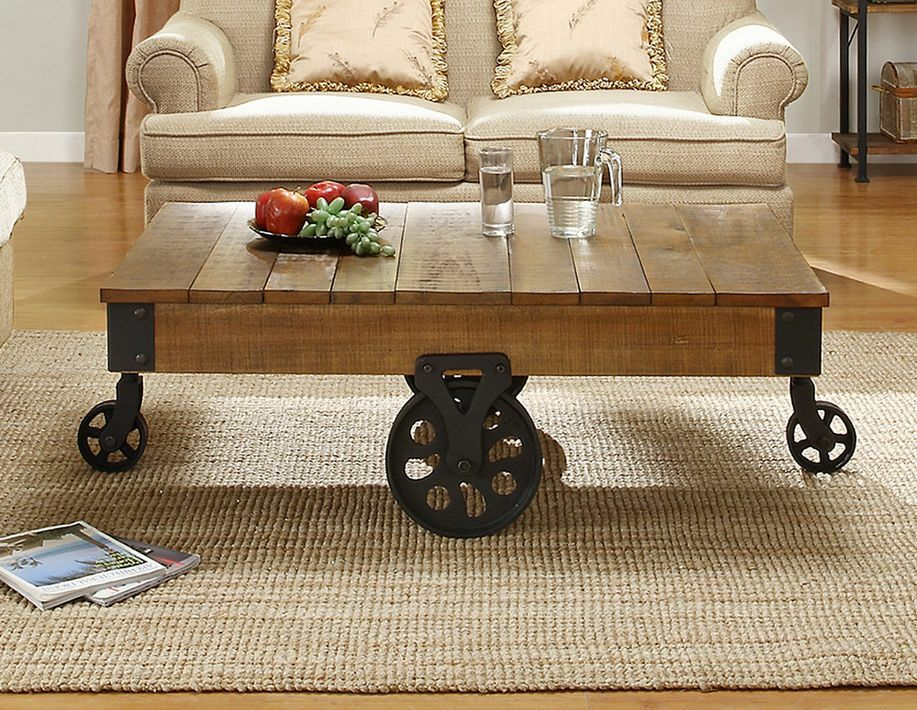 Industrial Wood Coffee Table Antique Factory Railroad Cart