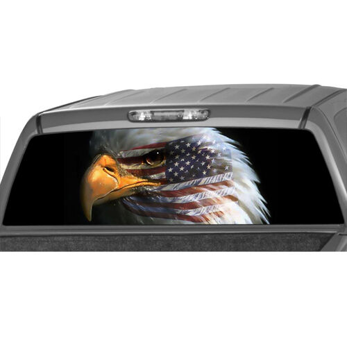 American Flag Bald Eagle Warbird Flag Face Rear Window
