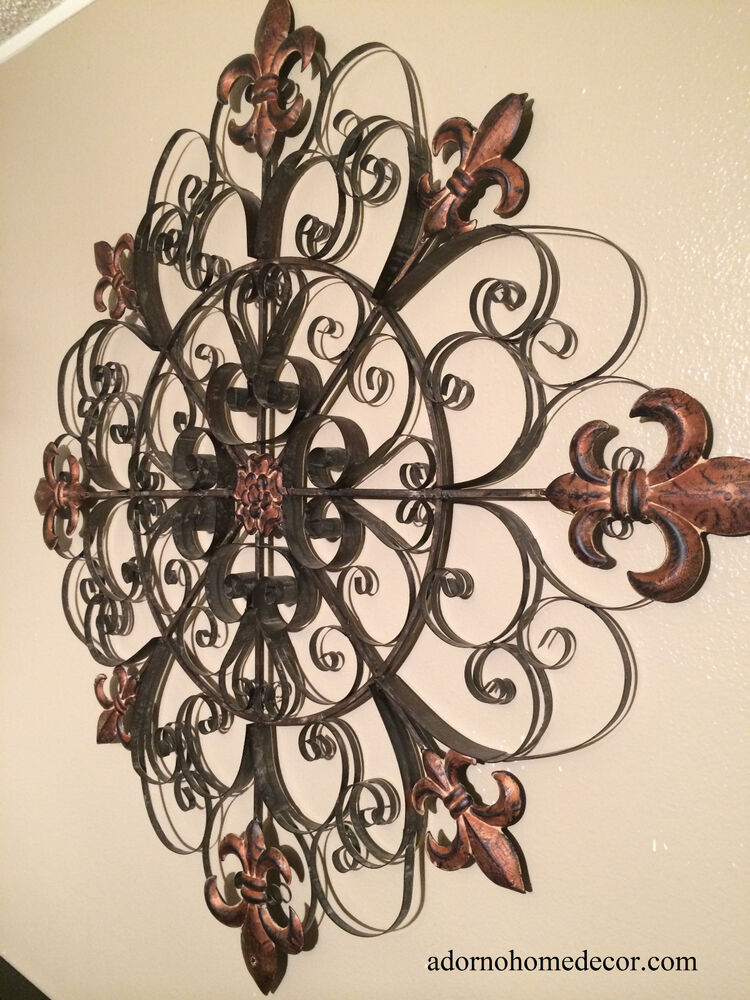 Large Unique Fleur De Lis Round Metal Wall Rustic Scroll