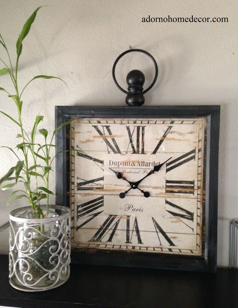 Large Vintage Wall Decor : Large metal square wall clock paris rustic decor