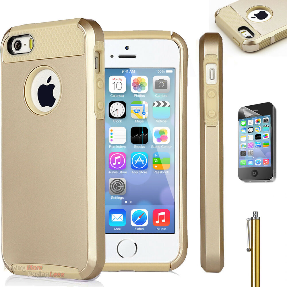 gold iphone case gold hybrid shockproof rugged heavy duty cover 4836