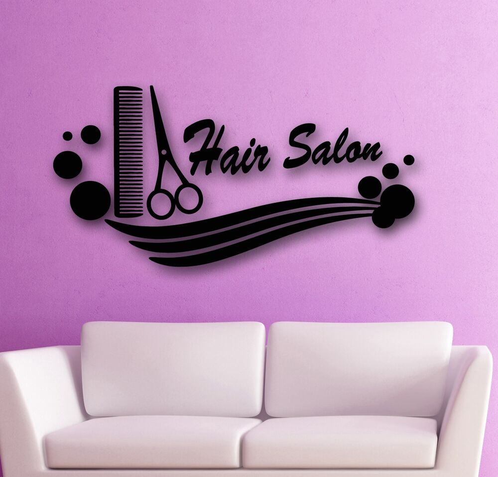 wall stickers vinyl decal hair salon spa beauty scissors. Black Bedroom Furniture Sets. Home Design Ideas