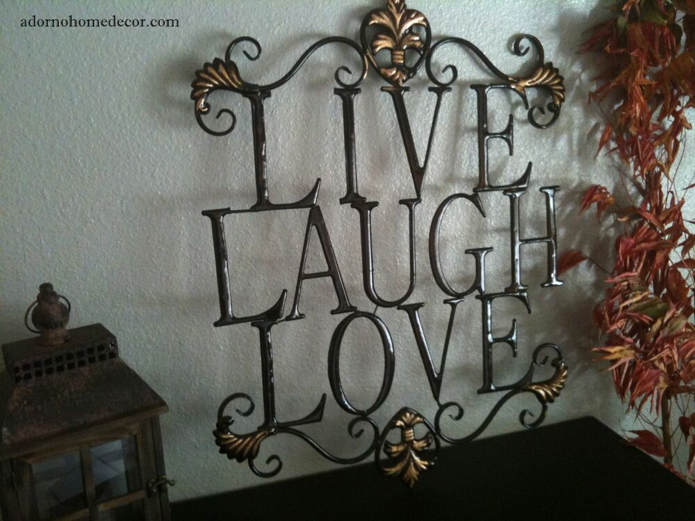 Live laugh love metal sign wall decor shabby chic cottage for Shabby chic wall art