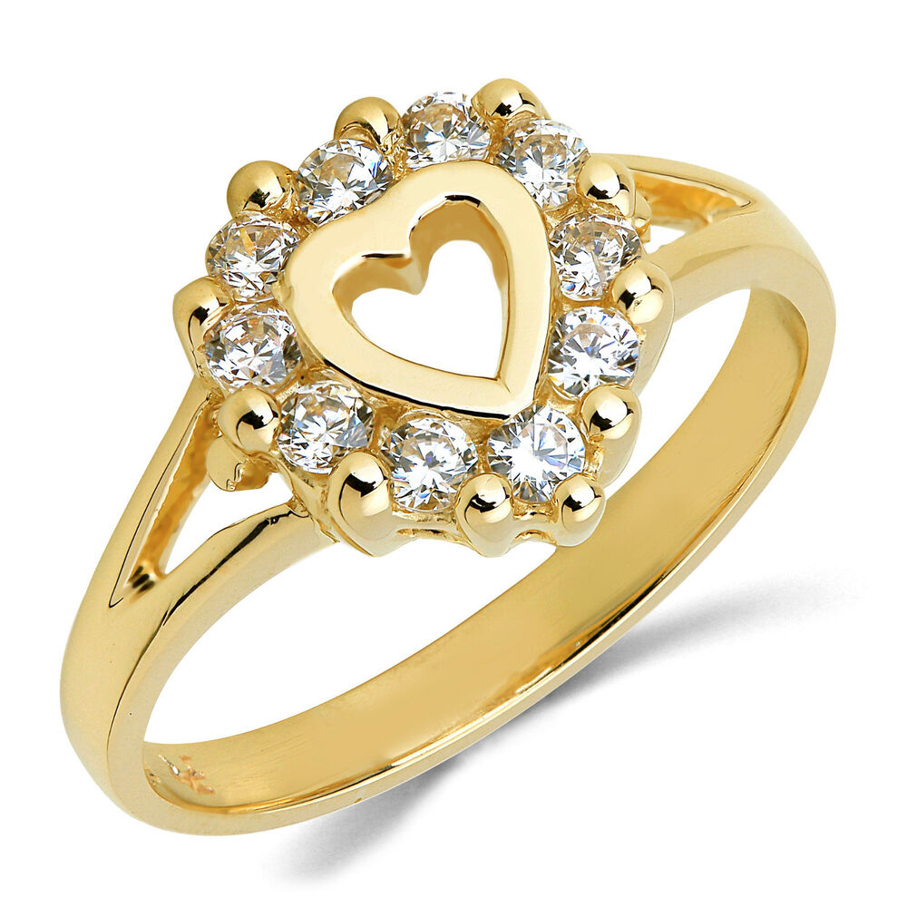 14k solid yellow gold cz cubic zirconia ring band ebay