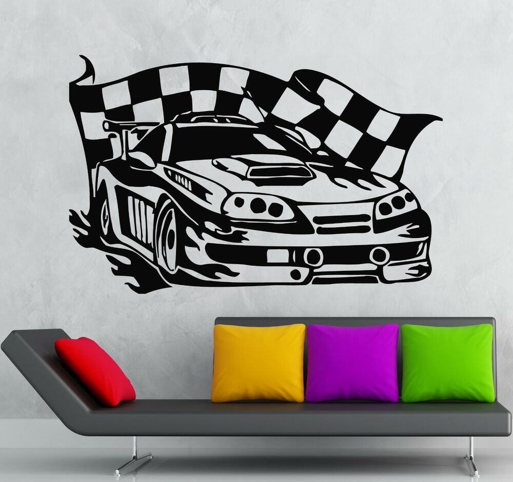 Wall sticker vinyl decal sports racing car race rally for Cars wall mural sticker