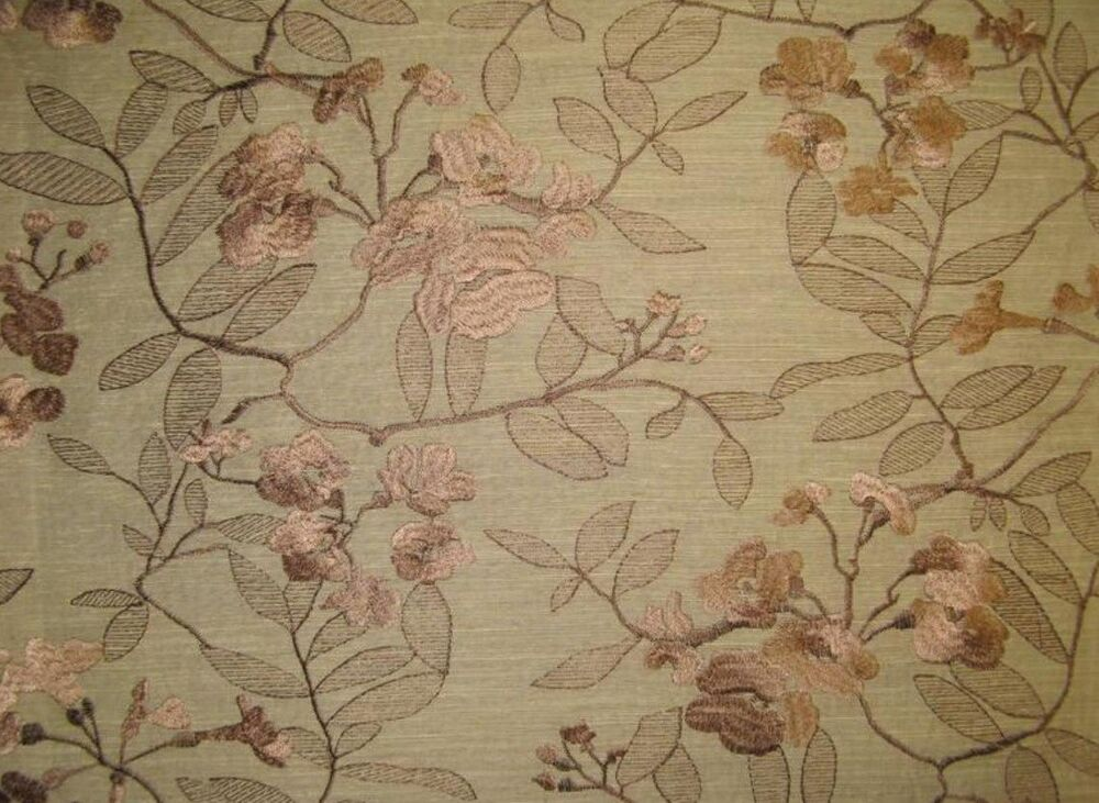 Upholstery 57 wide sand embroidered polyester linen look for Purchase fabric by the yard