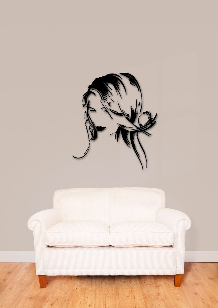 Wall Stickers Vinyl Decal Beautiful Girl Hair Salon Spa