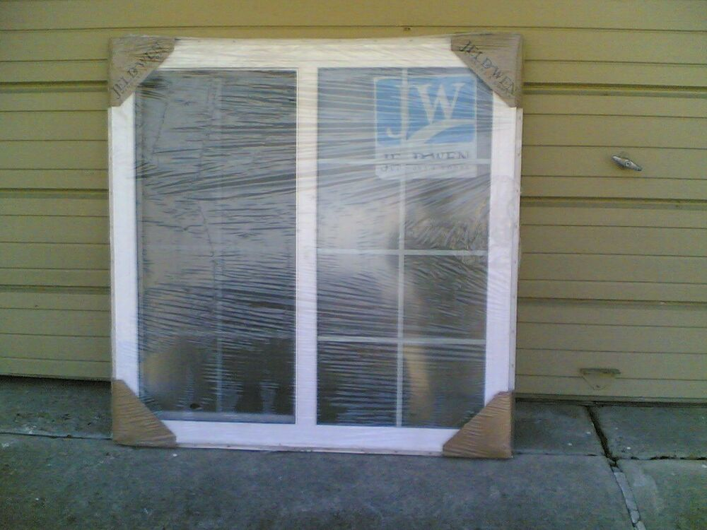 Brand new big jeld wen home white vinyl house slider for Home window brands
