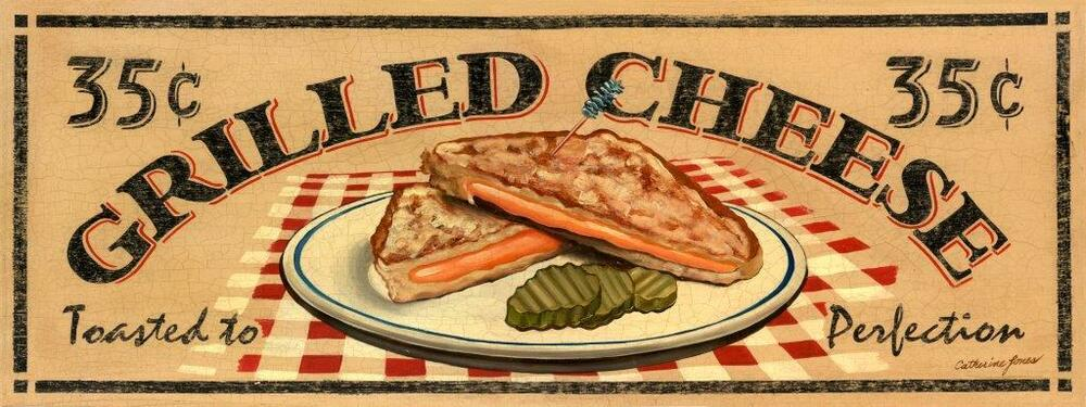 Grilled cheese sandwich metal sign vintage diner lunch - Plaque decorative cuisine ...