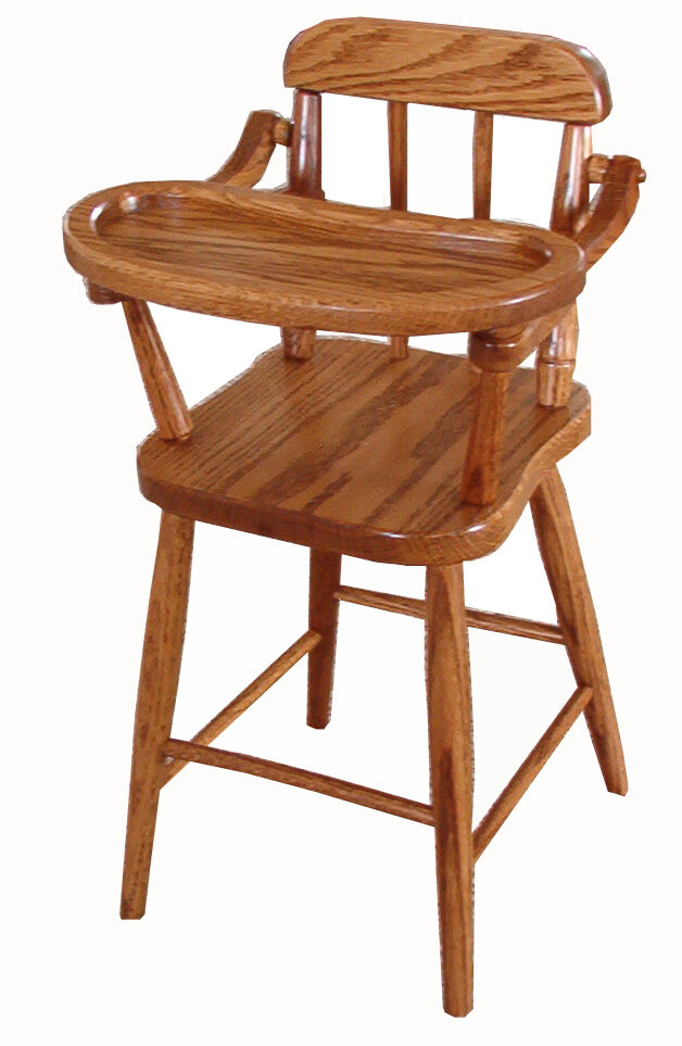 Amish Baby Doll Highchair Solid Oak Wood Wooden Toy Furniture New Ebay