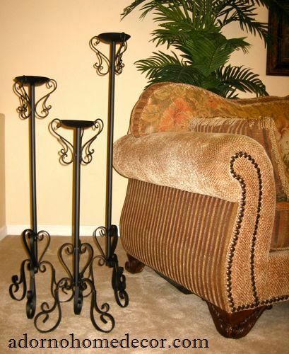 Wrought Iron Floor Candle Holders Set Metal Tall Standing
