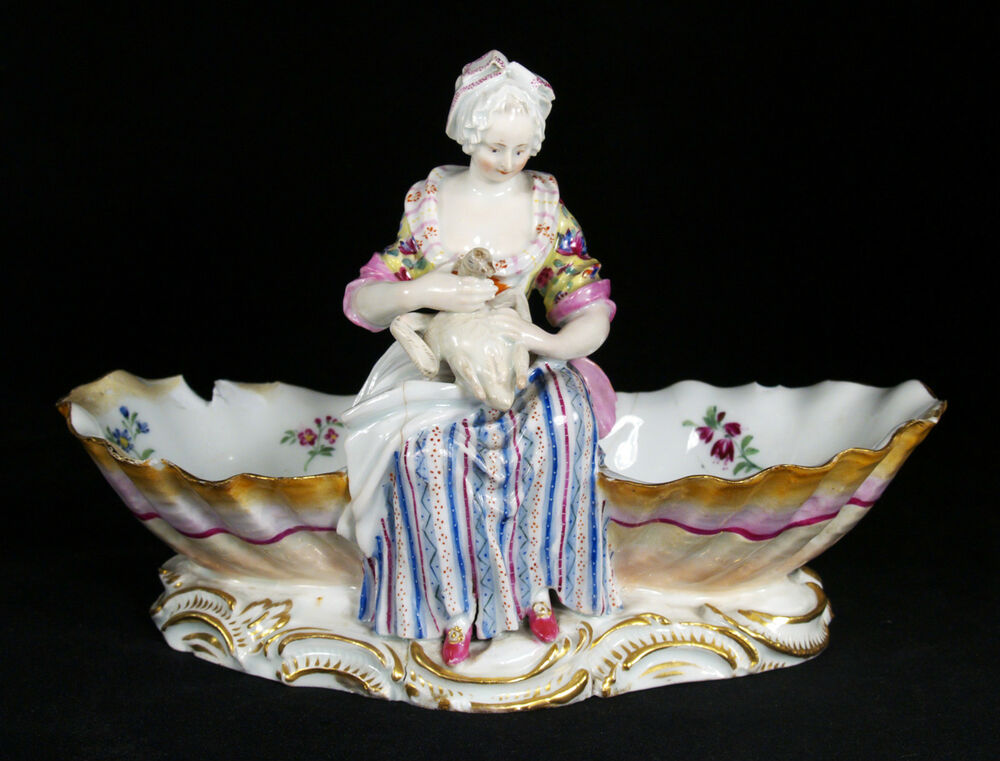 antique 18 century germany meissen porcelain figural double shell candy dish ebay. Black Bedroom Furniture Sets. Home Design Ideas