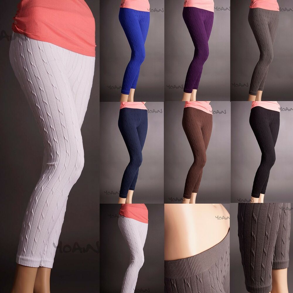 Cable Knit Cotton Sweater Skinny Stretch Footless Leggings