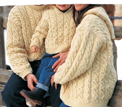 Ladies- Gents- Childs, round neck and hooded Cable Sweater- Knitting pattern ...