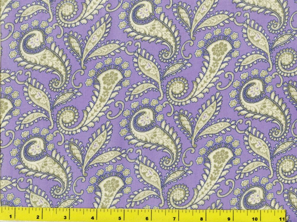 Victorian floral paisley leaves on light purple quilting for Victorian floral fabric