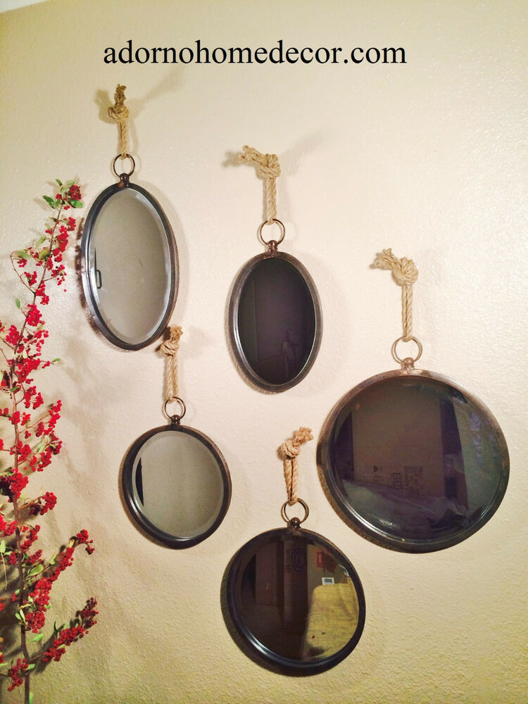 Metal round oval rope mirror set accent rustic chic unique for Unusual decorative accessories