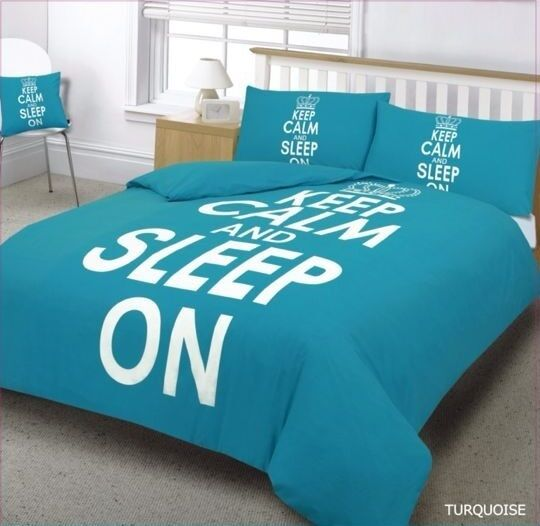 teal keep calm sleep on duvet bedding set in single double king super king ebay. Black Bedroom Furniture Sets. Home Design Ideas