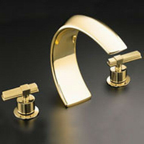 Kohler alterna deck mount high flow bath tub faucet k 6502 4 pb polished brass ebay for Polished gold bathroom faucets