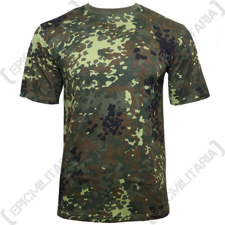 img-German Army Flecktarn Camo T-Shirt - 100% Cotton Army Military Top Crew Neck New
