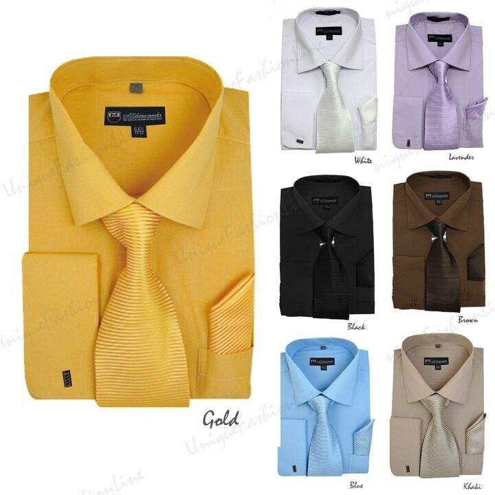 Men 39 s solid dress shirt french cuff matching tie for Mens eyelet collar dress shirts