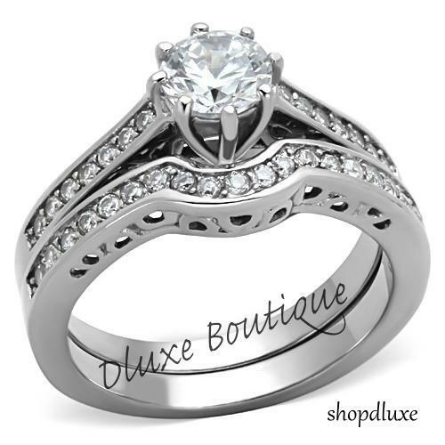 ct round cut cz silver stainless steel wedding ring