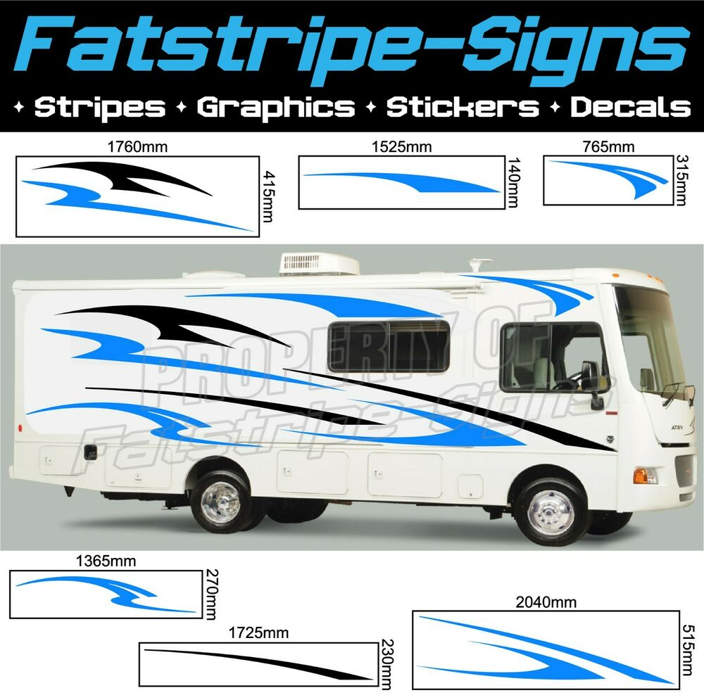 Motorhome vinyl graphics stickers decals stripes set for Decals for rv mural