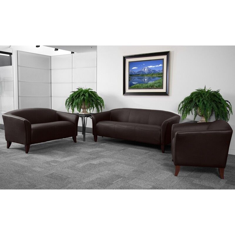 BROWN LEATHER SOFA, LOVE SEAT SIDE CHAIR OFFICE RECEPTION AREA GUEST ...