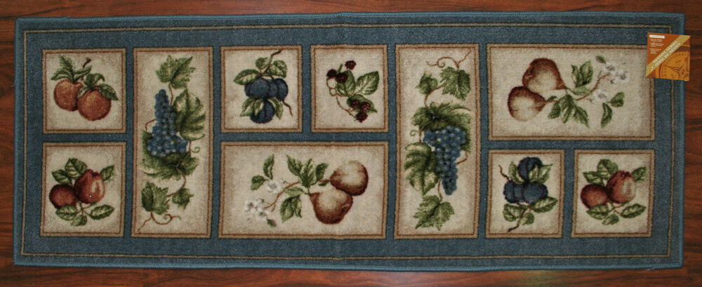 2x5 Kitchen Runner Rug Lite Blue Washable Mat Fruit Grapes