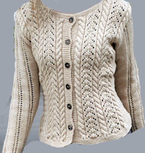 Knitting Pattern Sweater Lace : Ladies lace & Cable Cardigan Knitting pattern eBay