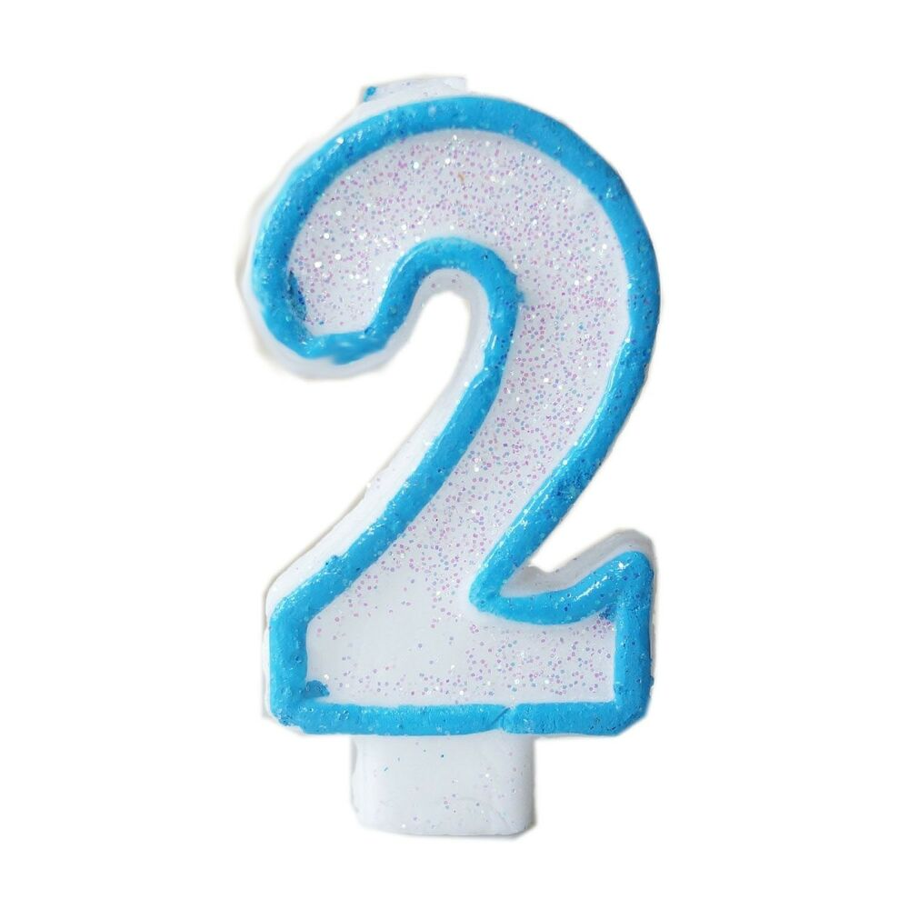 Blue Glitter Numeral 2 Number Candle White Premium 2nd
