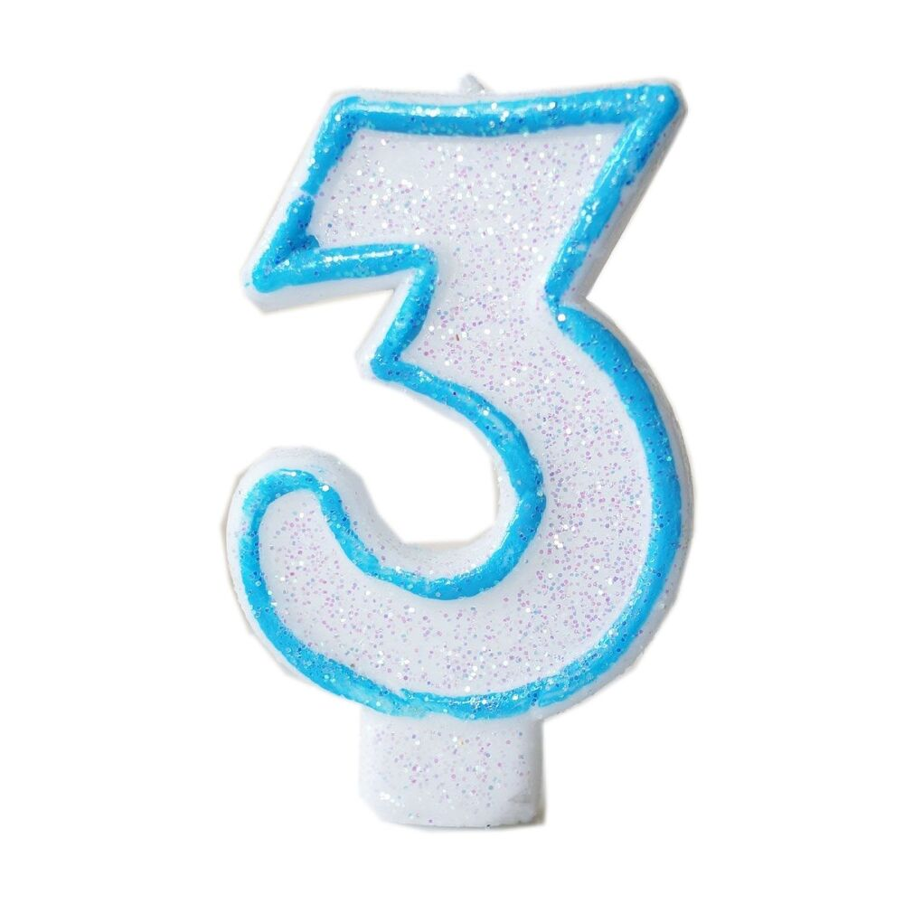 Blue Glitter Numeral 3 Number Candle White Premium 3rd