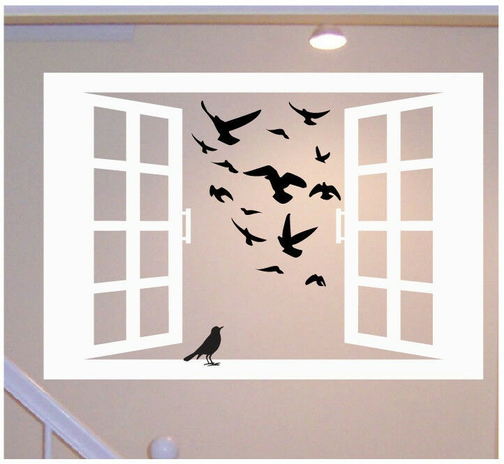 Window With Birds Wall Decal Deco Art Sticker Mural