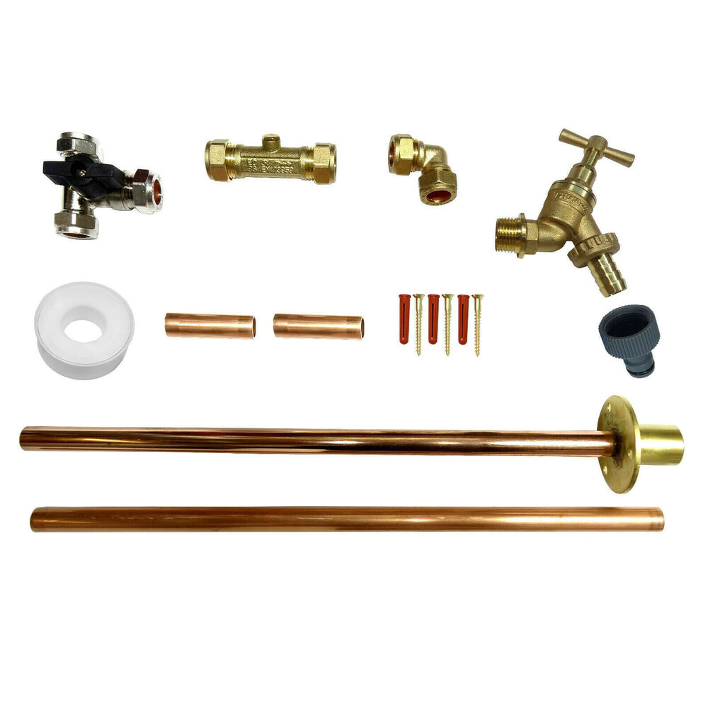 Outside Tap Kit Tap Through Wall Flange Tee Valve Liners Flexi Connector Ebay