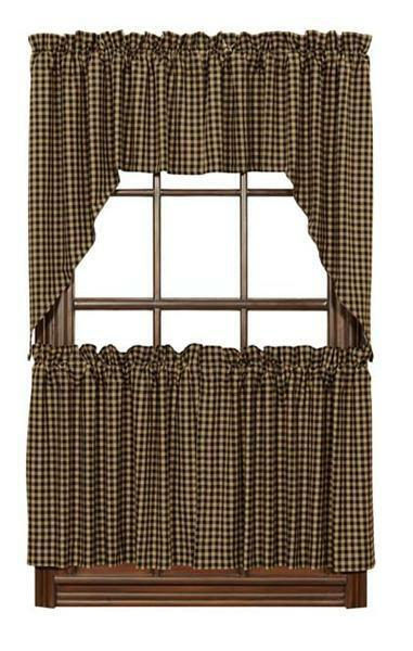 Country Primitive Black Check Tier Lined Curtains 36 Quot X 36