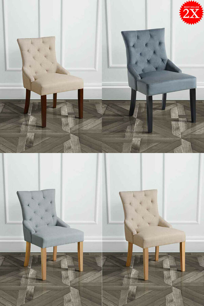 Set Of 2 High Quality Upholstered Scoop Back Dining Chairs