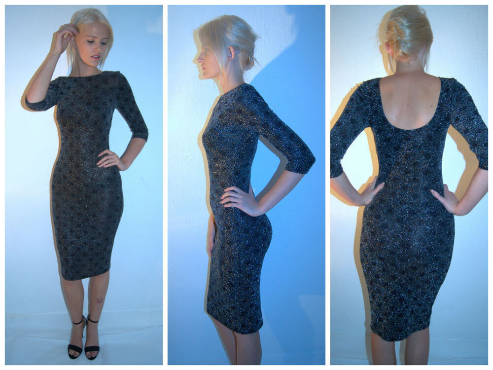 Primark Lurex Midi Spotted Party Dress With A Scoop Back