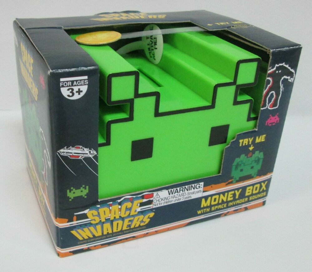 space invaders money box coin bank w sound brand new officially licensed product ebay. Black Bedroom Furniture Sets. Home Design Ideas