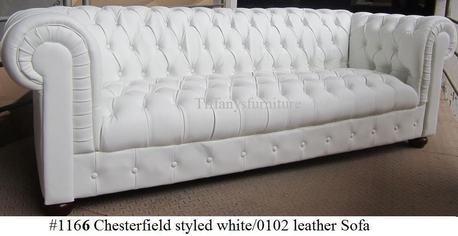 Gentil Gorgeous Chesterfield Style Modern White Top Grain Premium Leather Sofa  #1166