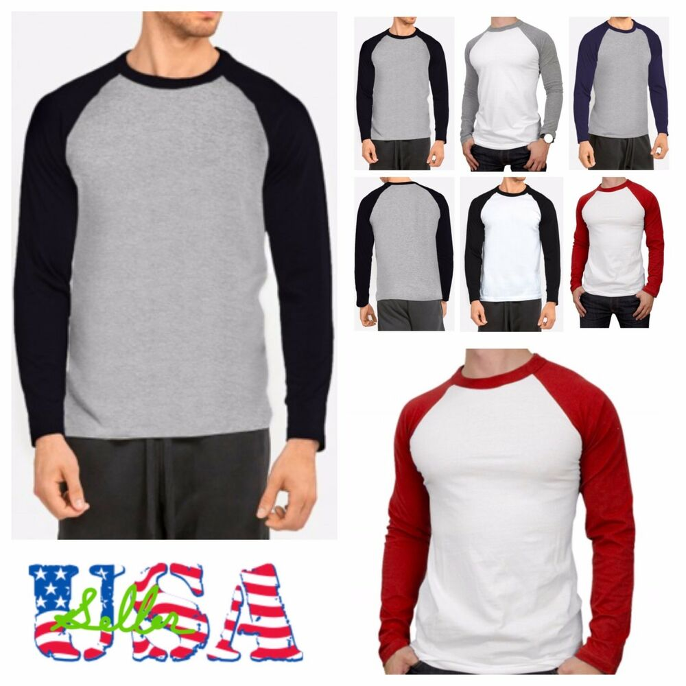 men 39 s long sleeve baseball t shirt raglan jersey casual tee fashion crew neck t ebay. Black Bedroom Furniture Sets. Home Design Ideas