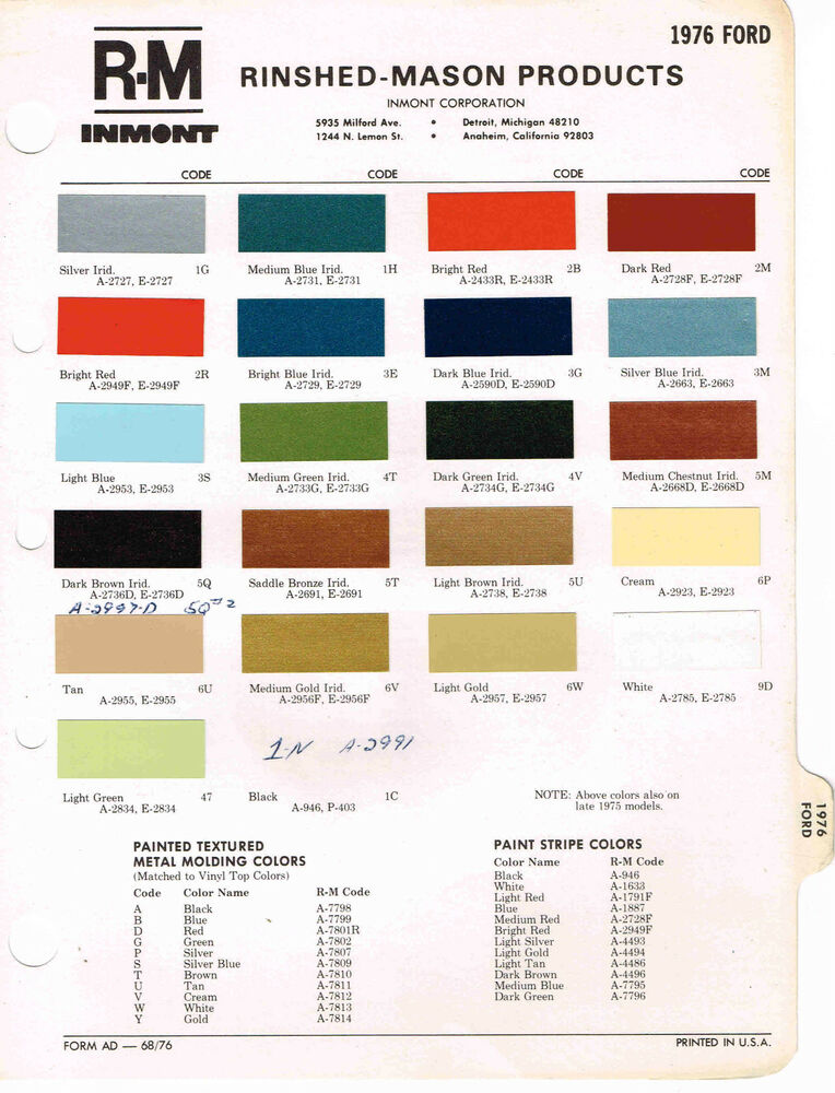 1976 Ford Color Paint Sample Brochure Chart Mustang