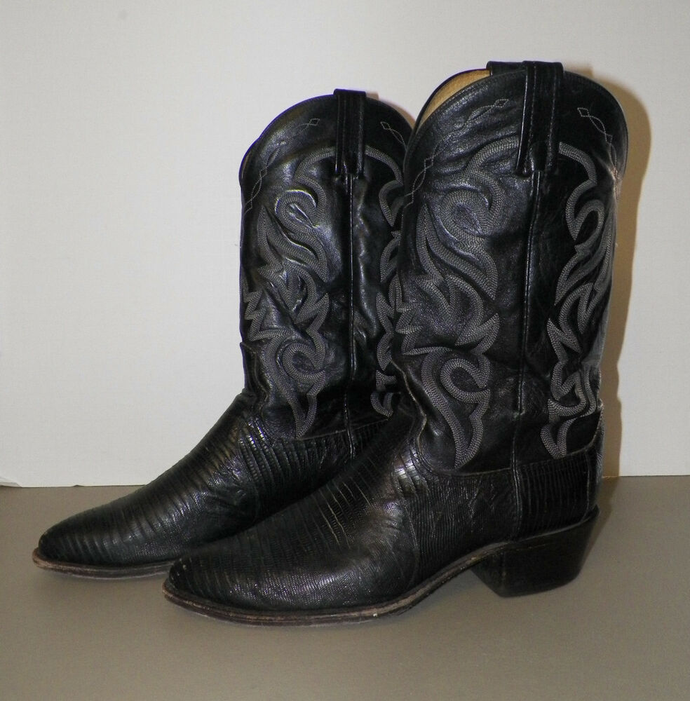 s dan post black leather western cowboy boots size 10