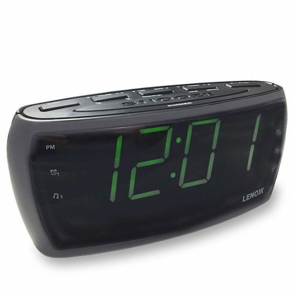 cr85 alarm clock radio digital led am fm aux in large big numbers sight impaired ebay. Black Bedroom Furniture Sets. Home Design Ideas