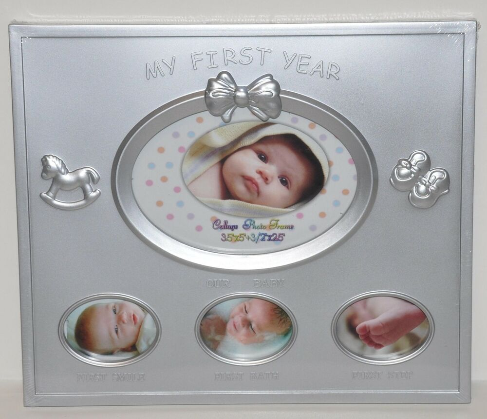 MY FIRST YEAR BABY PICTURE FRAME NEW SILVER BABY SHOWER GIFT NEWBORN FRAME CUTE | eBay