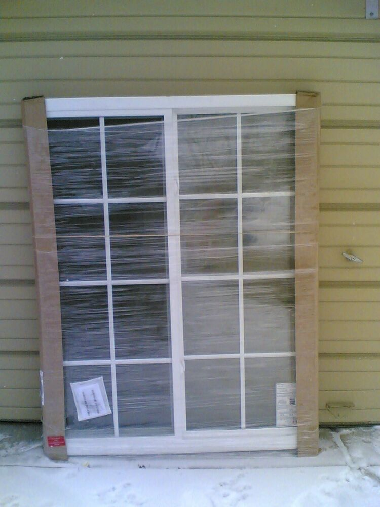 Brand new big white vinyl house slider window with grids for Buy jeld wen windows online