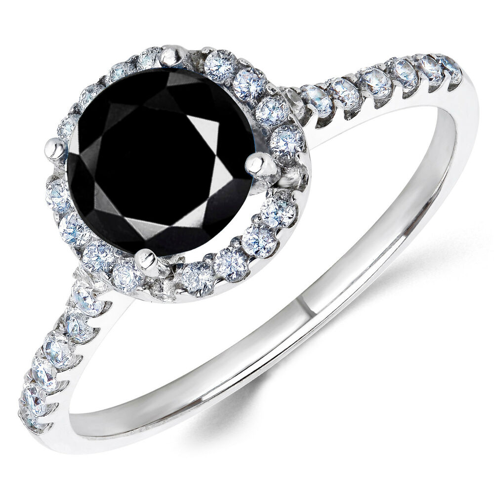 14K White Gold Black CZ Halo Engagement Ring 1 Ct Birthstones Available