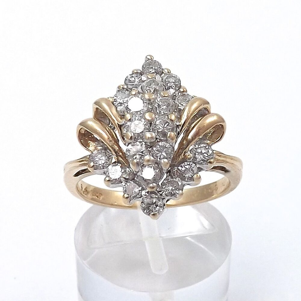 14K YELLOW GOLD 98 Ctw DIAMOND CLUSTER COCKTAIL RING Sz 65