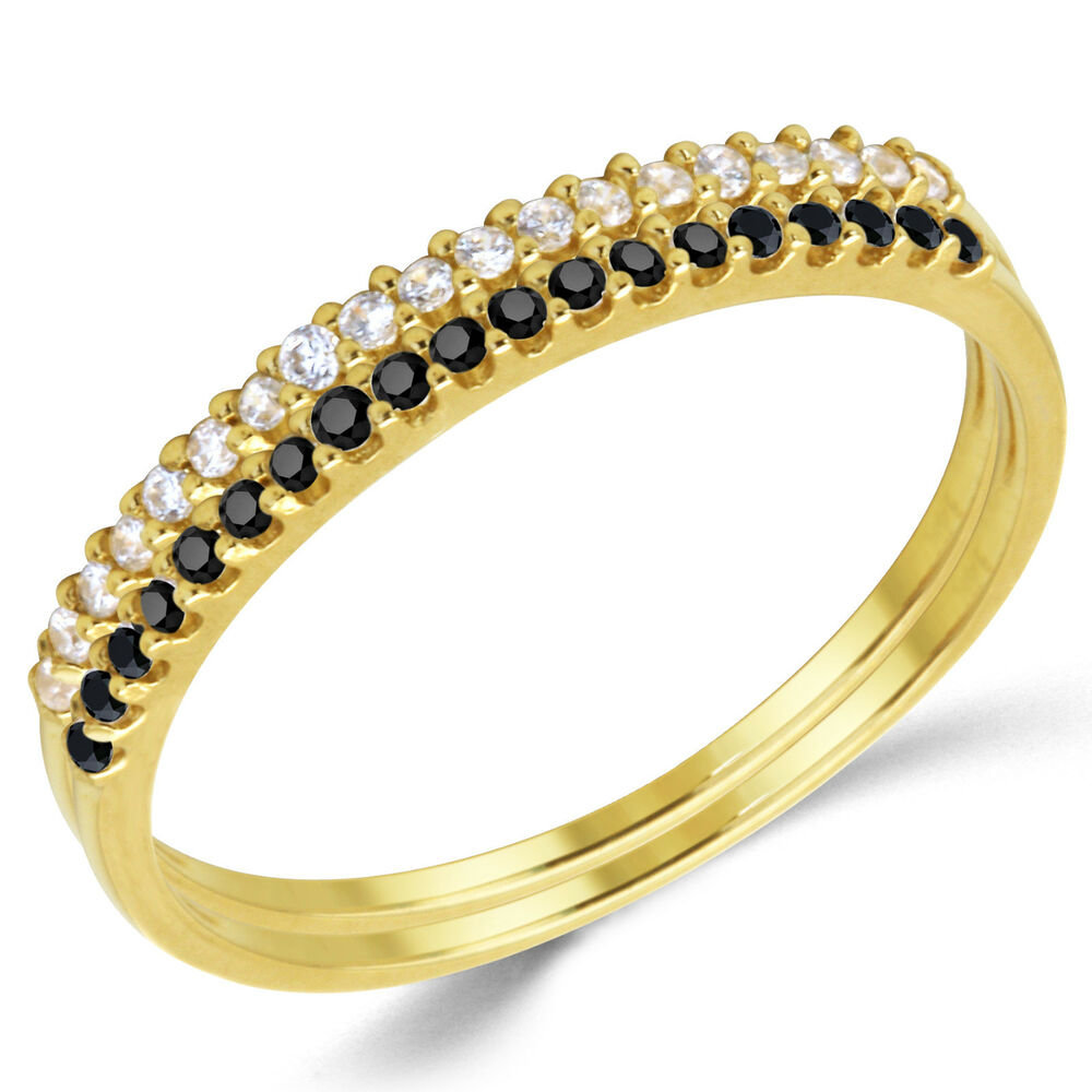 14k solid yellow gold cz cubic zirconia stackable. Black Bedroom Furniture Sets. Home Design Ideas