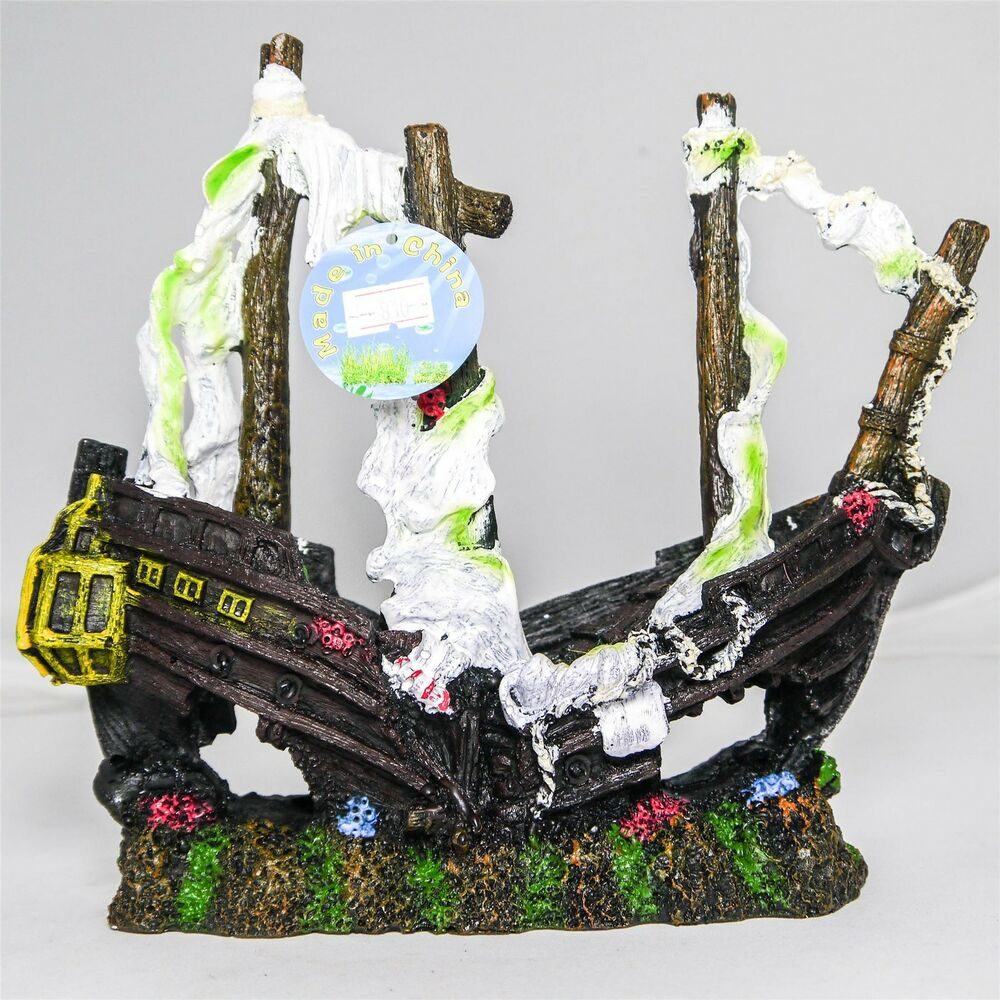 Sailing shipwreck sunken galleon polyresin aquarium fish for Split fish tank